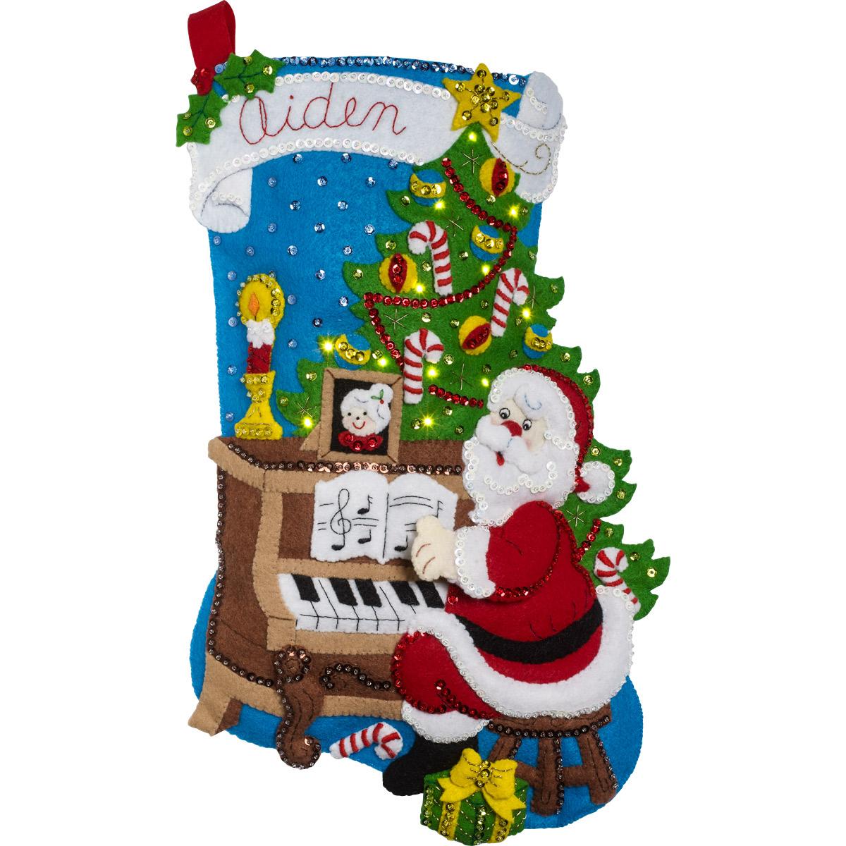 Bucilla ® Seasonal - Felt - Stocking Kits - Santa at the Piano with Lights