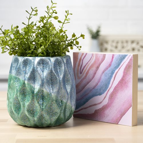 Aqua and Evergreen Glittered Planter & Geode Canvas