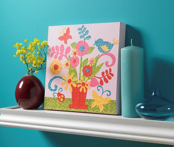 Paper Collage Art - Bright and Cheerful Floral Still Life