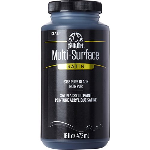 FolkArt ® Multi-Surface Satin Acrylic Paints - Pure Black, 16 oz. - 6383