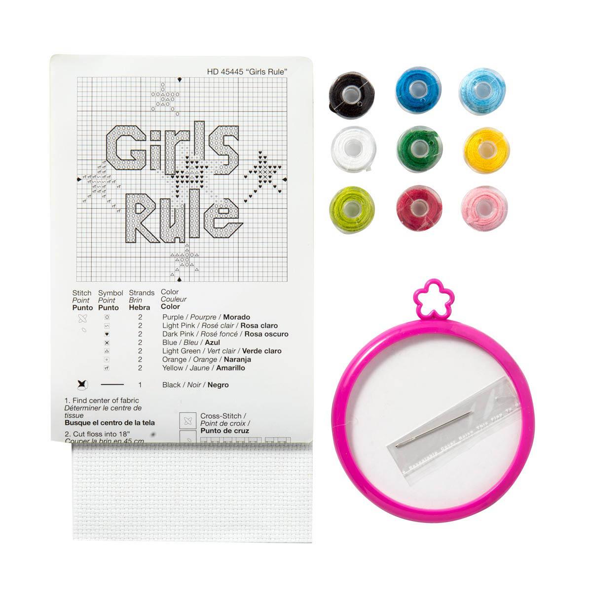 Bucilla ® My 1st Stitch™ - Counted Cross Stitch Kits - Mini - Girls Rule