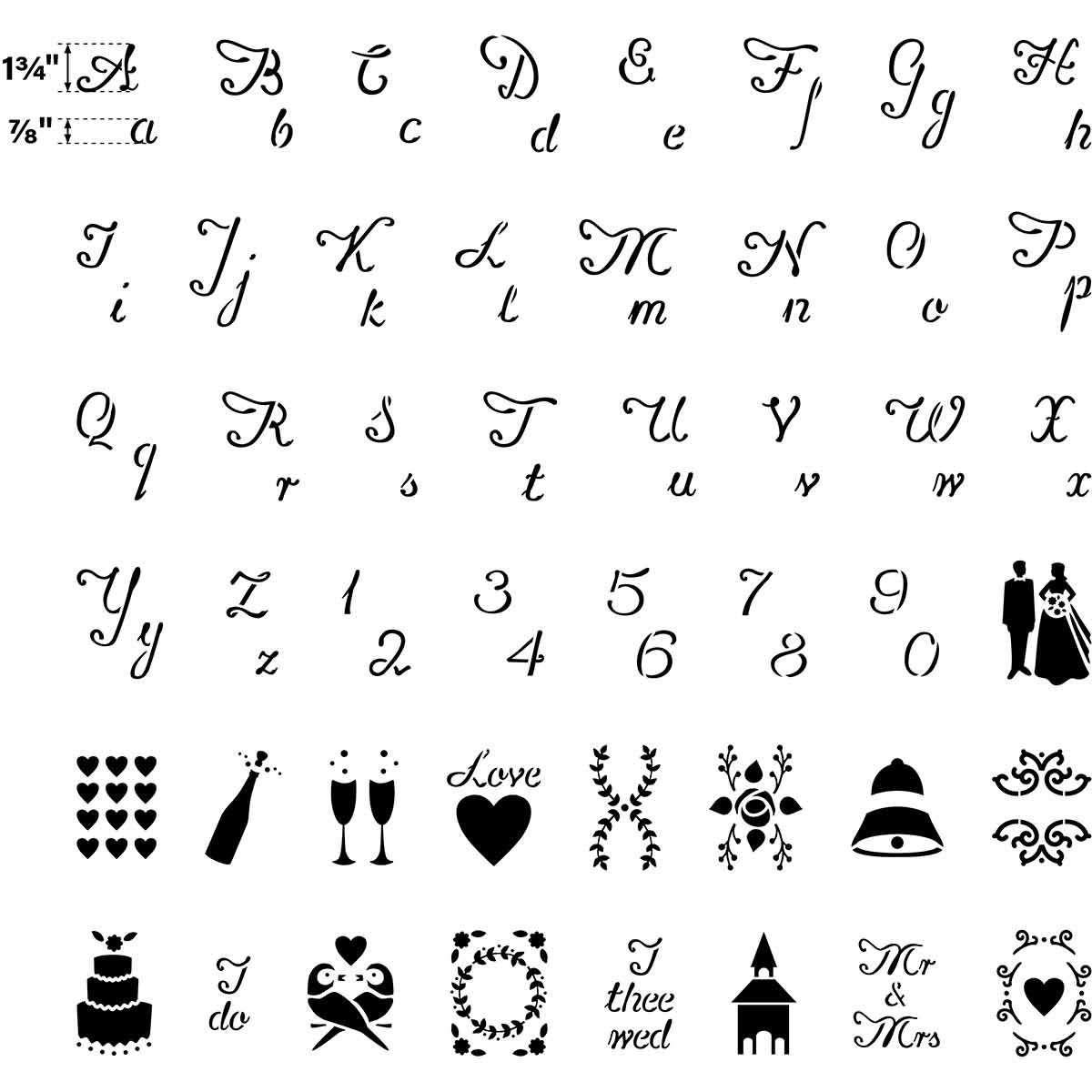 FolkArt ® Paper Stencil Value Packs - Wedding Alphabet and Icons - 71963E