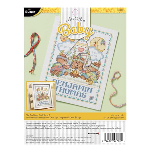 Bucilla ® Baby - Counted Cross Stitch - Crib Ensembles - Tee Pee Bears - Birth Record Kit