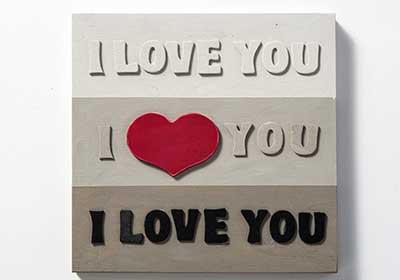 I Love You Wood Canvas