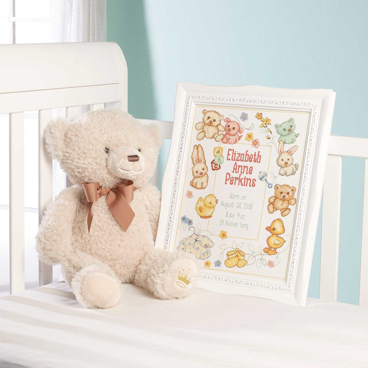 Bucilla ® Baby - Counted Cross Stitch - Crib Ensembles - Hallmark - Playful Pals - Birth Record Kit