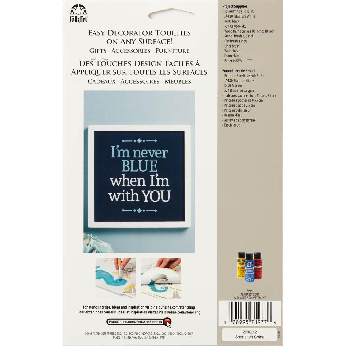 FolkArt ® Craft Stencils - Value Packs - Alphabet Serif - 71977