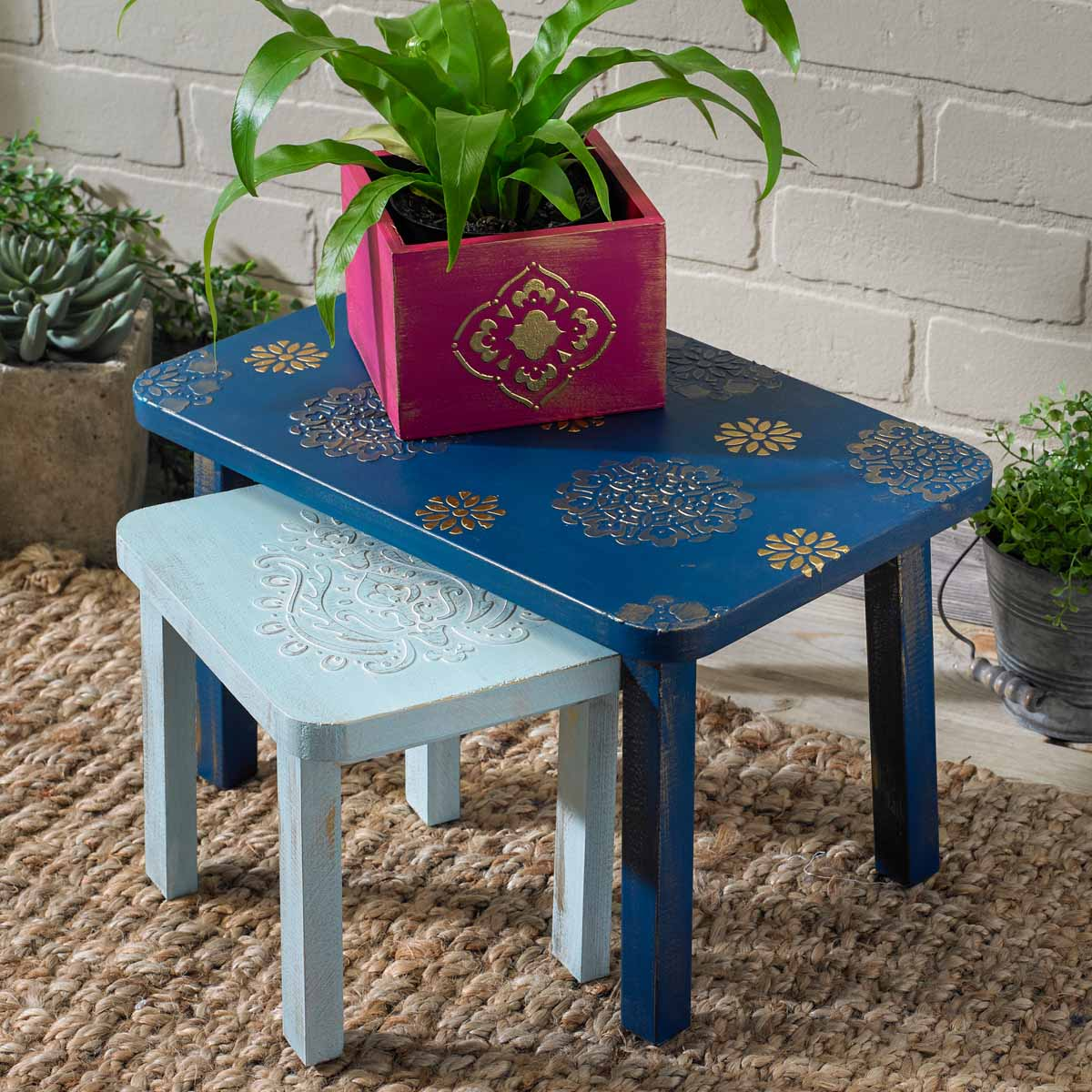 Dimensional Gold Stenciled Table and Planter