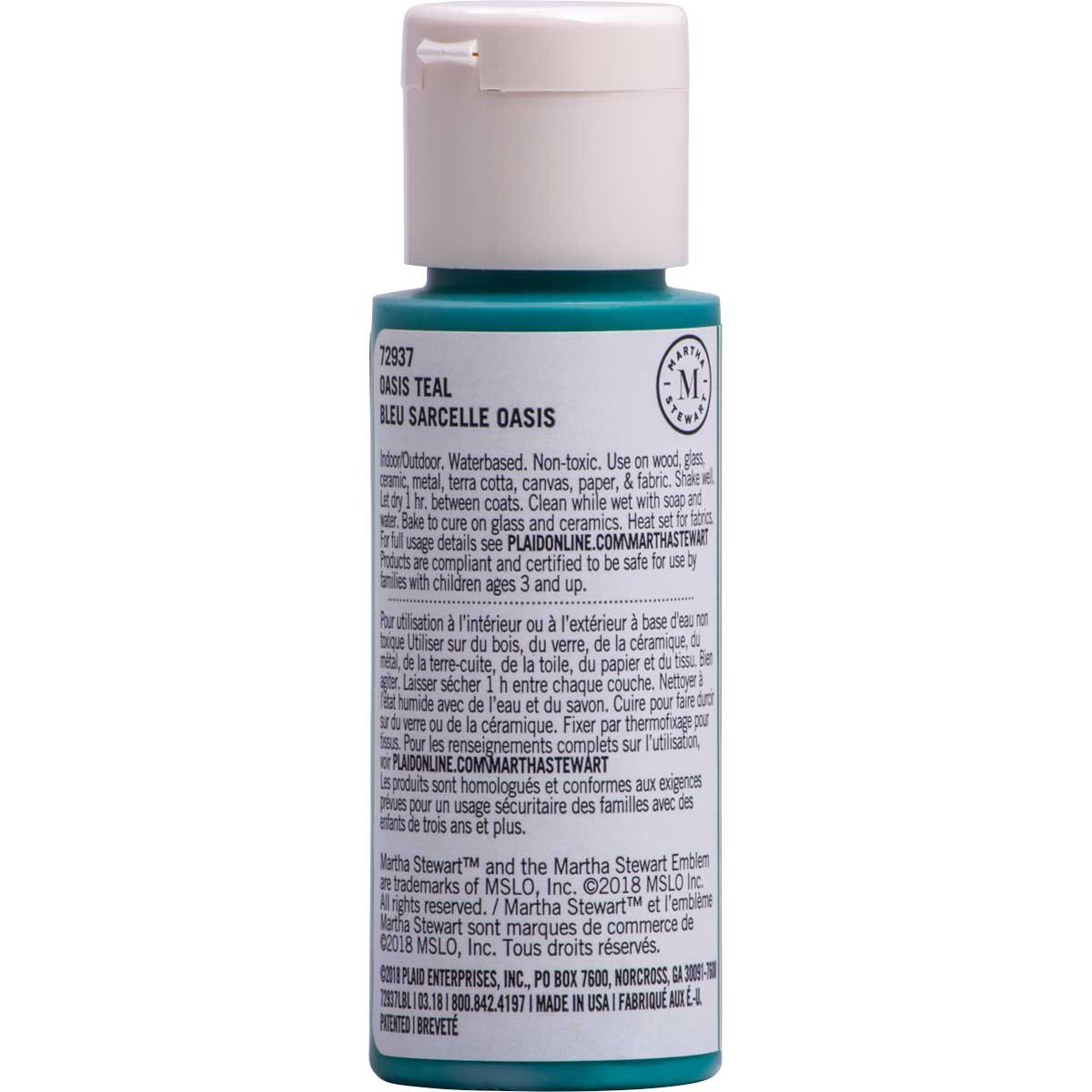 Martha Stewart ® Multi-Surface Pearl Acrylic Craft Paint CPSIA - Oasis Teal, 2 oz. - 72937