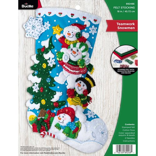 Bucilla ® Seasonal - Felt - Stocking Kits - Teamwork Snowmen - 89248E