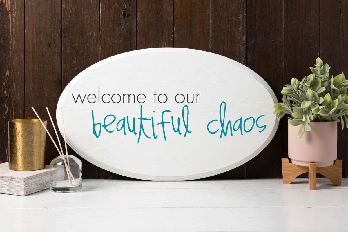 DIY Wall Decor - Beautiful Chaos Stenciled Sign