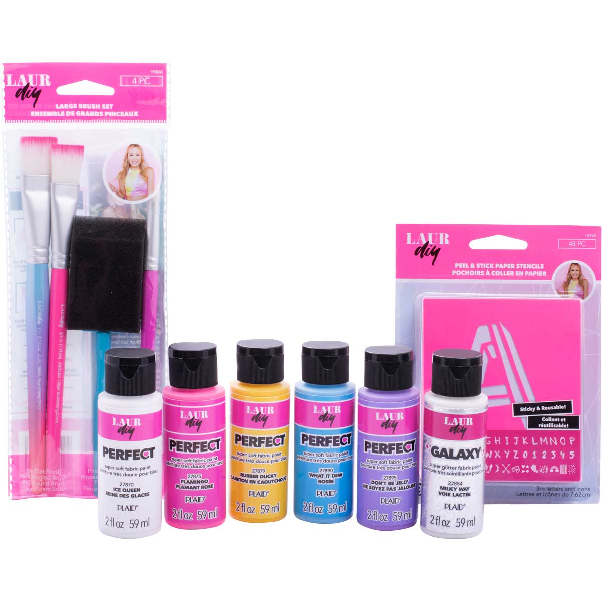 LaurDIY ® Fabric Paint, Stencil and Brush Kit - Unicorn Whimsy