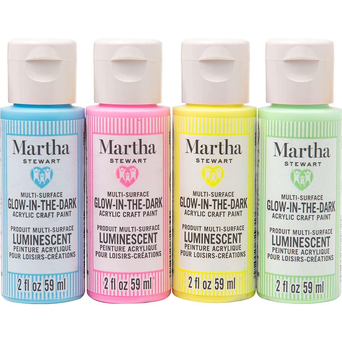 Martha Stewart ® Family Friendly Multi-Surface Glow-in-the-Dark Acrylic Craft Paint 4-Color Set - MS