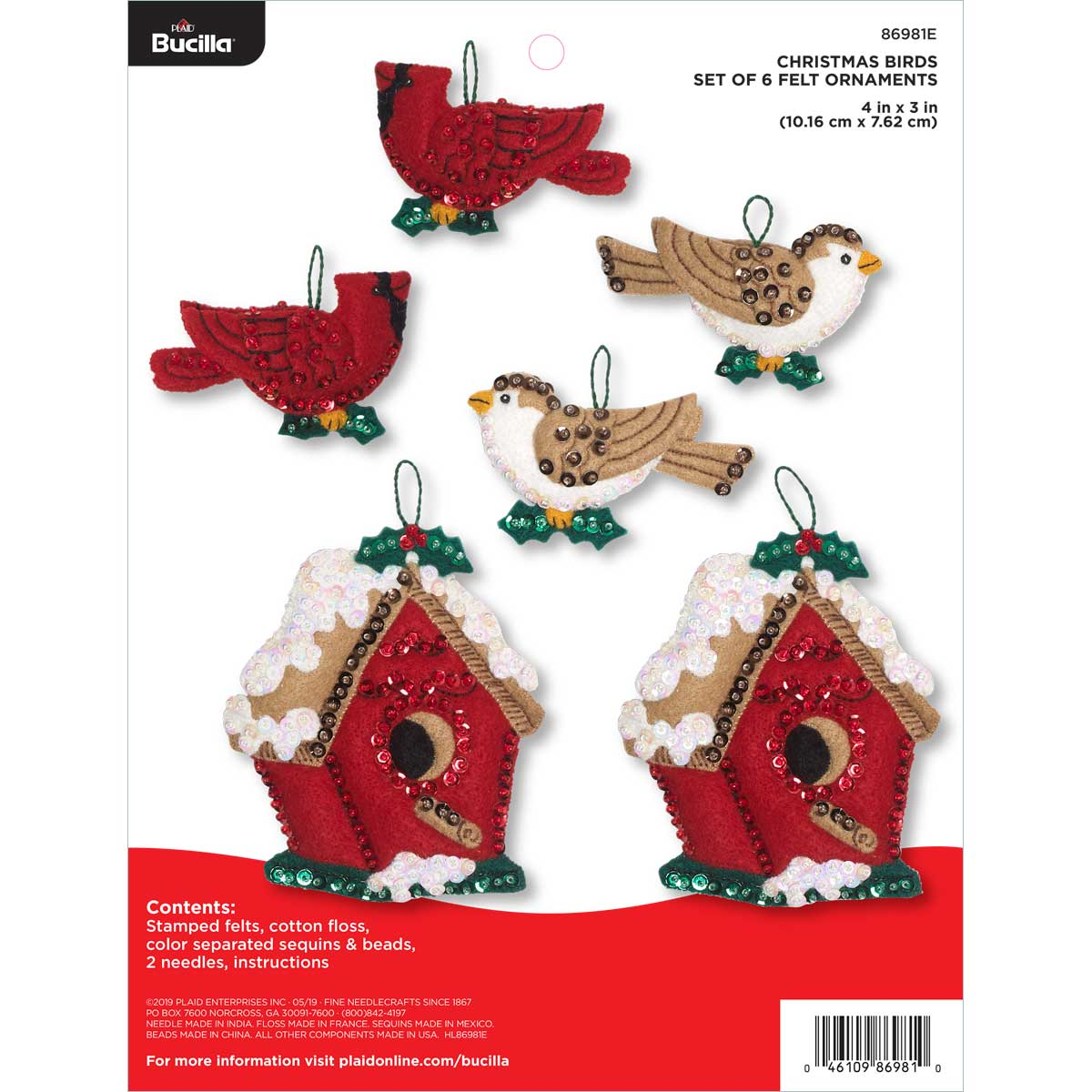 Bucilla ® Seasonal - Felt - Ornament Kits - Christmas Birds