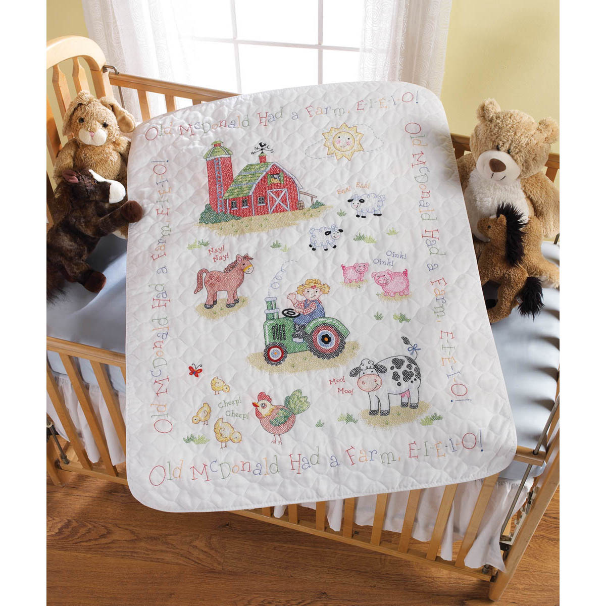 Bucilla ® Baby - Stamped Cross Stitch - Crib Ensembles - On the Farm  - Crib Cover Kit