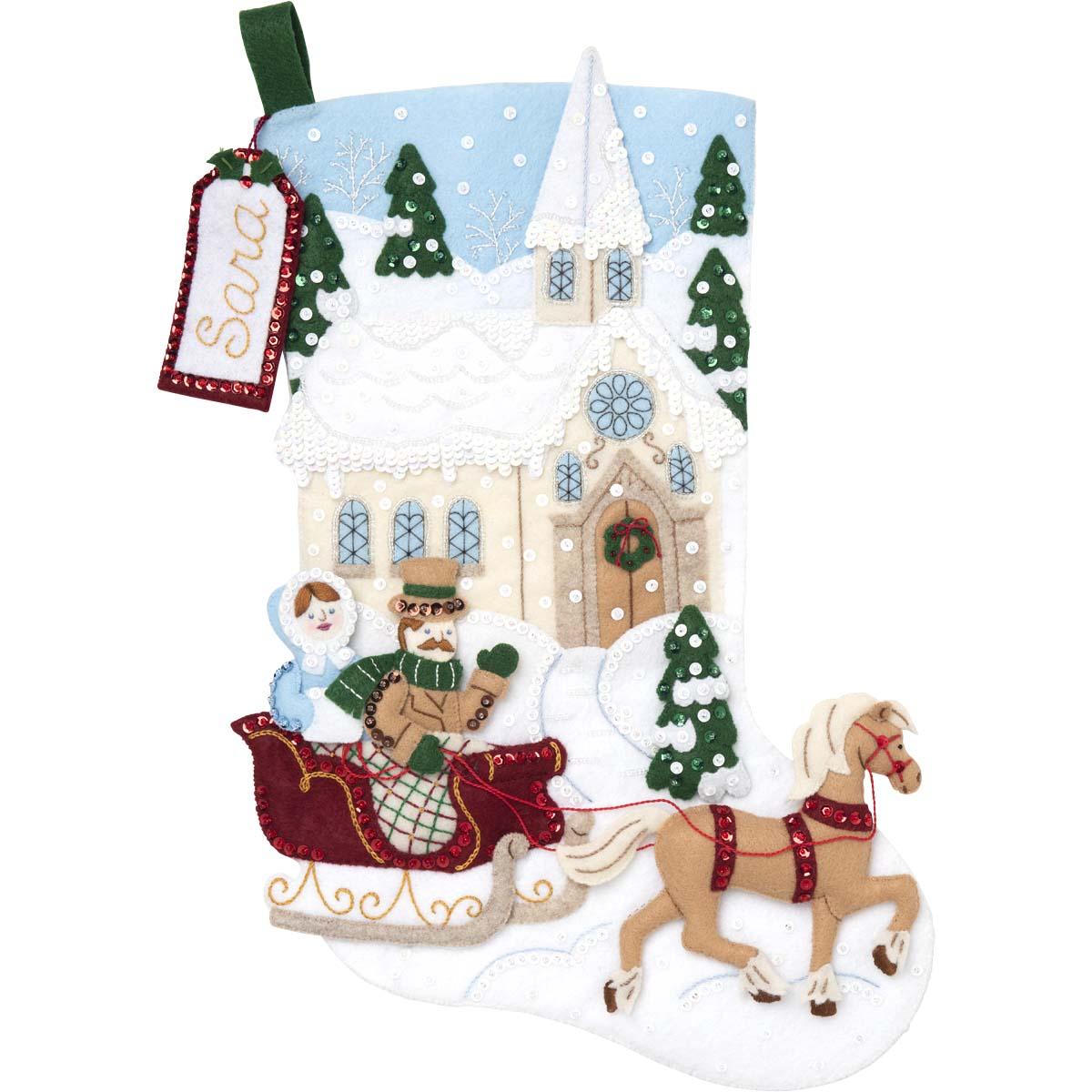 Bucilla ® Seasonal - Felt - Stocking Kits - Dashing Through the Snow - 89074E