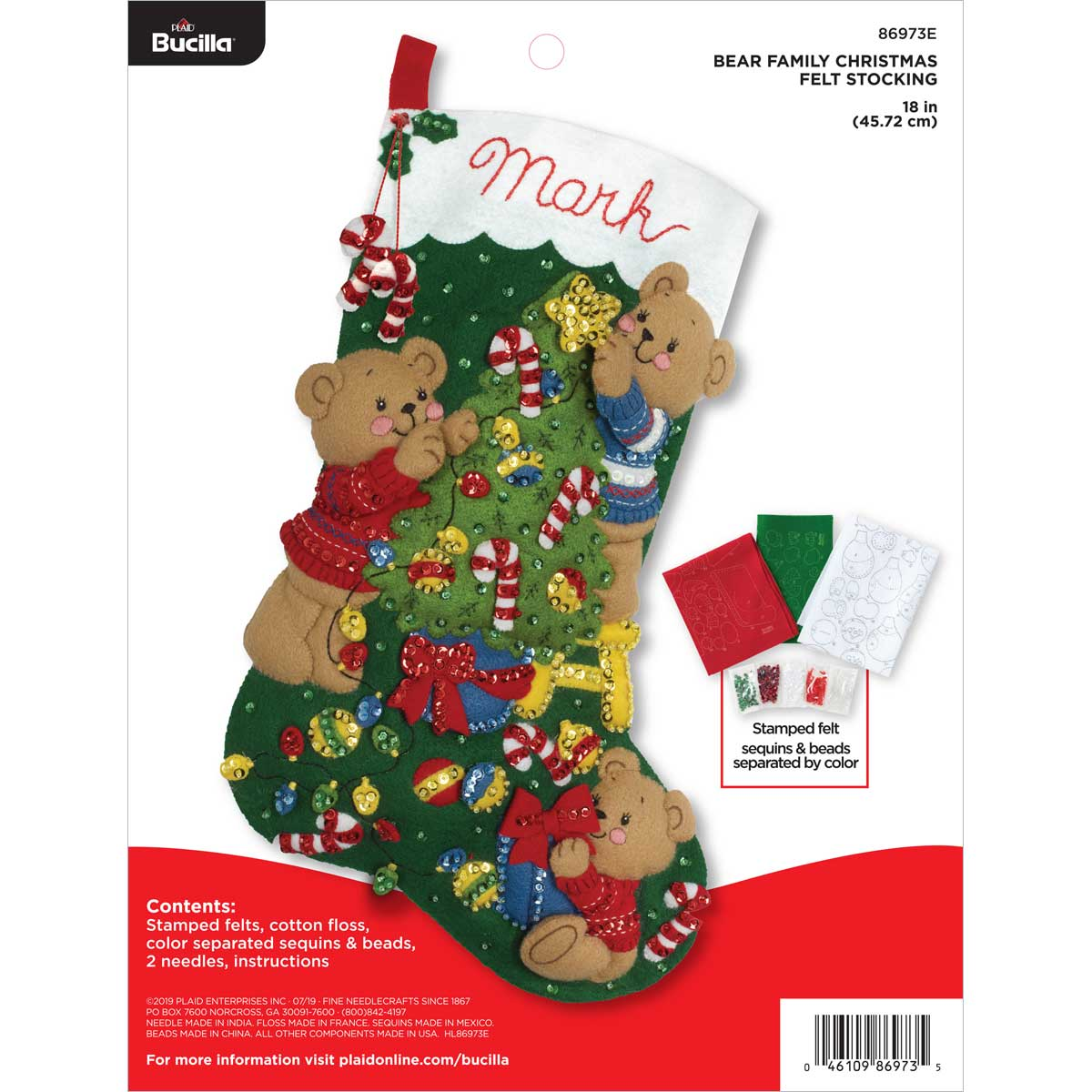 Bucilla ® Seasonal - Felt - Stocking Kits - Bear Family Christmas