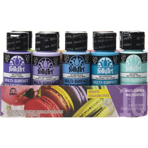 FolkArt ® Multi-Surface Satin Acrylic Paint 10 Color Set - Brights - 7507