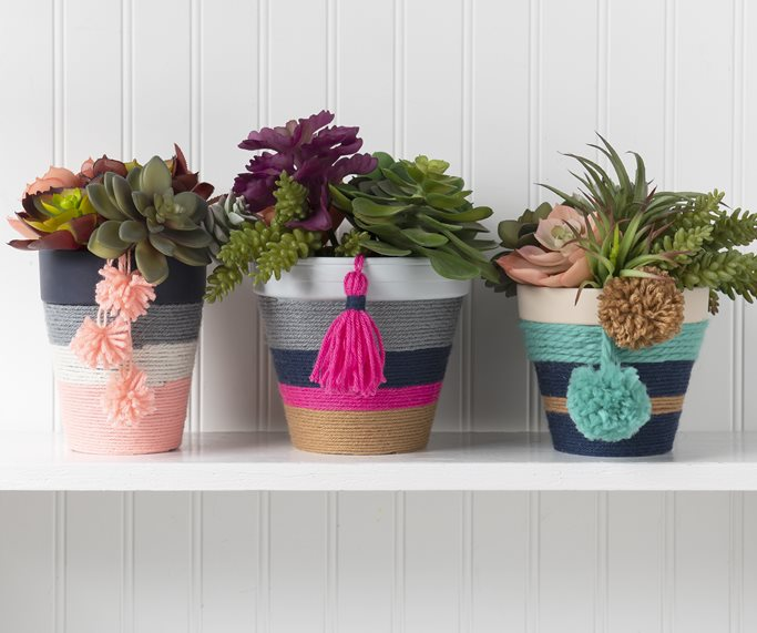 Add These Yarn Embellished Crafts to Your Home Decor