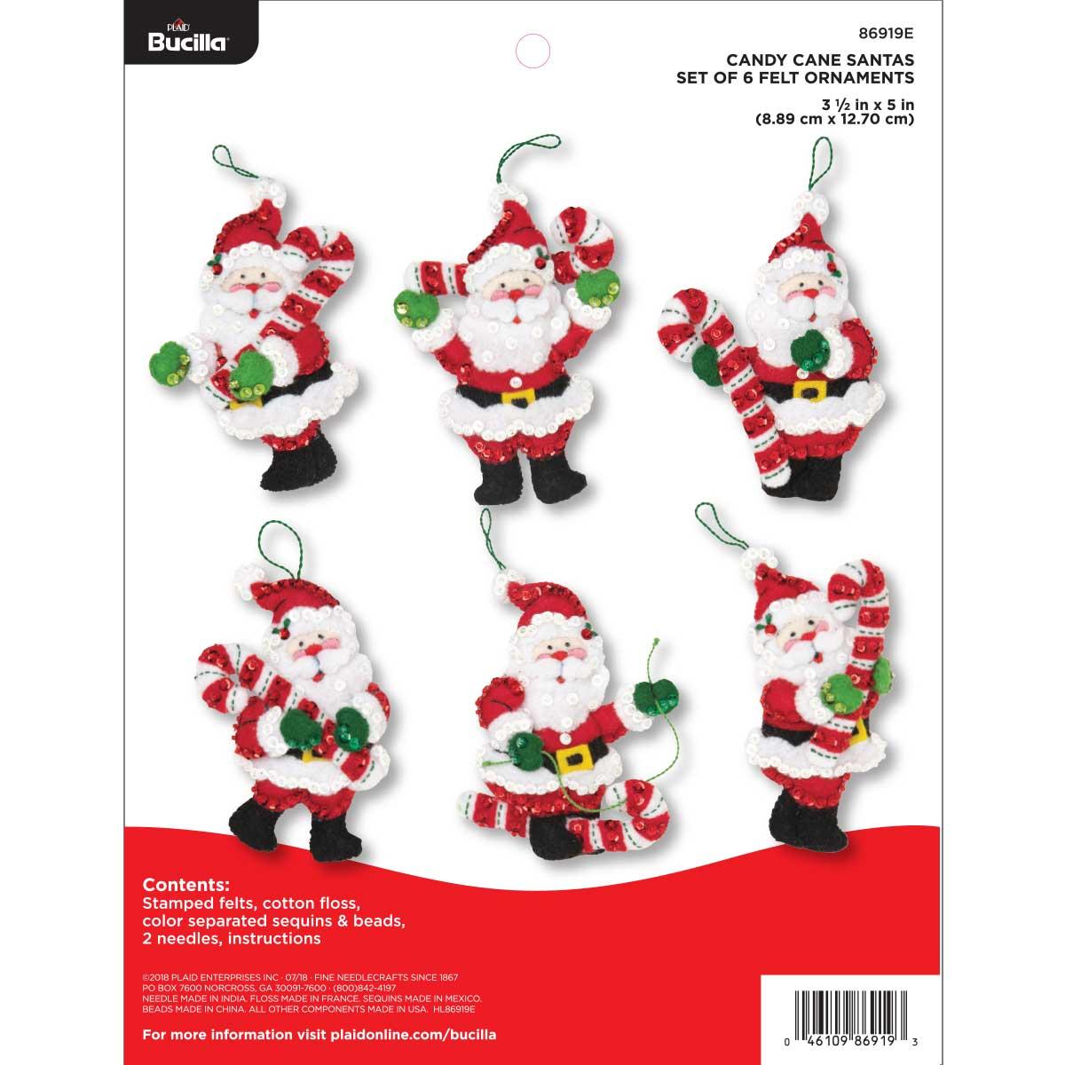 Bucilla ® Seasonal - Felt - Ornament Kits - Candy Cane Santas - 86919E
