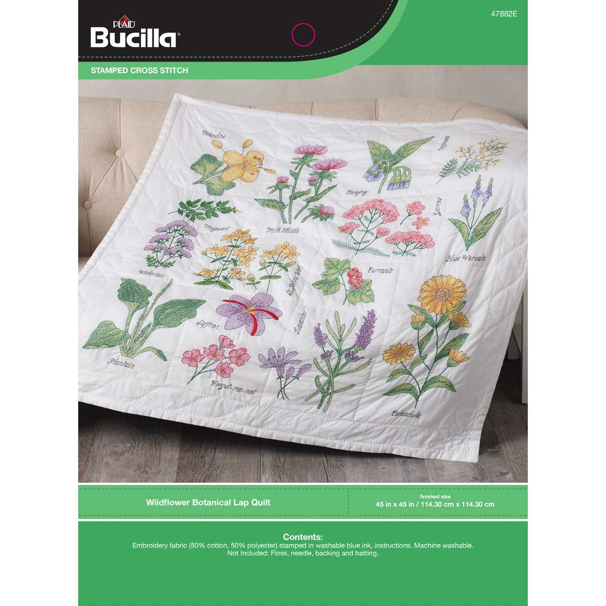 Bucilla ® Stamped Cross Stitch - Lap Quilts - Wildflower Botanical - 47882E