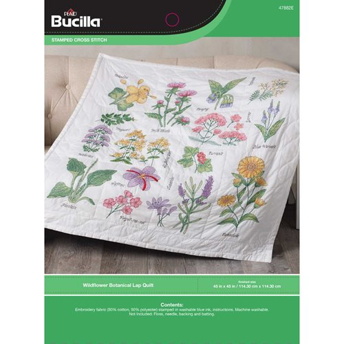 Bucilla ® Stamped Cross Stitch - Lap Quilts - Wildflower Botanical