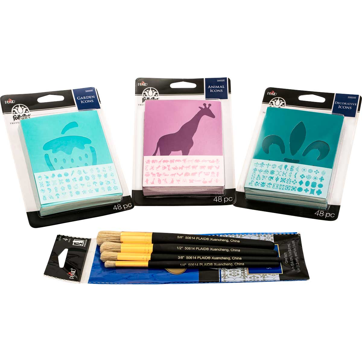FolkArt ® Complete Paper Icon Stencil and Brush Set