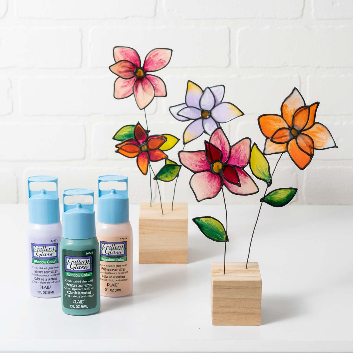 Floating Garden: Flowers on Wire and Wood Blocks