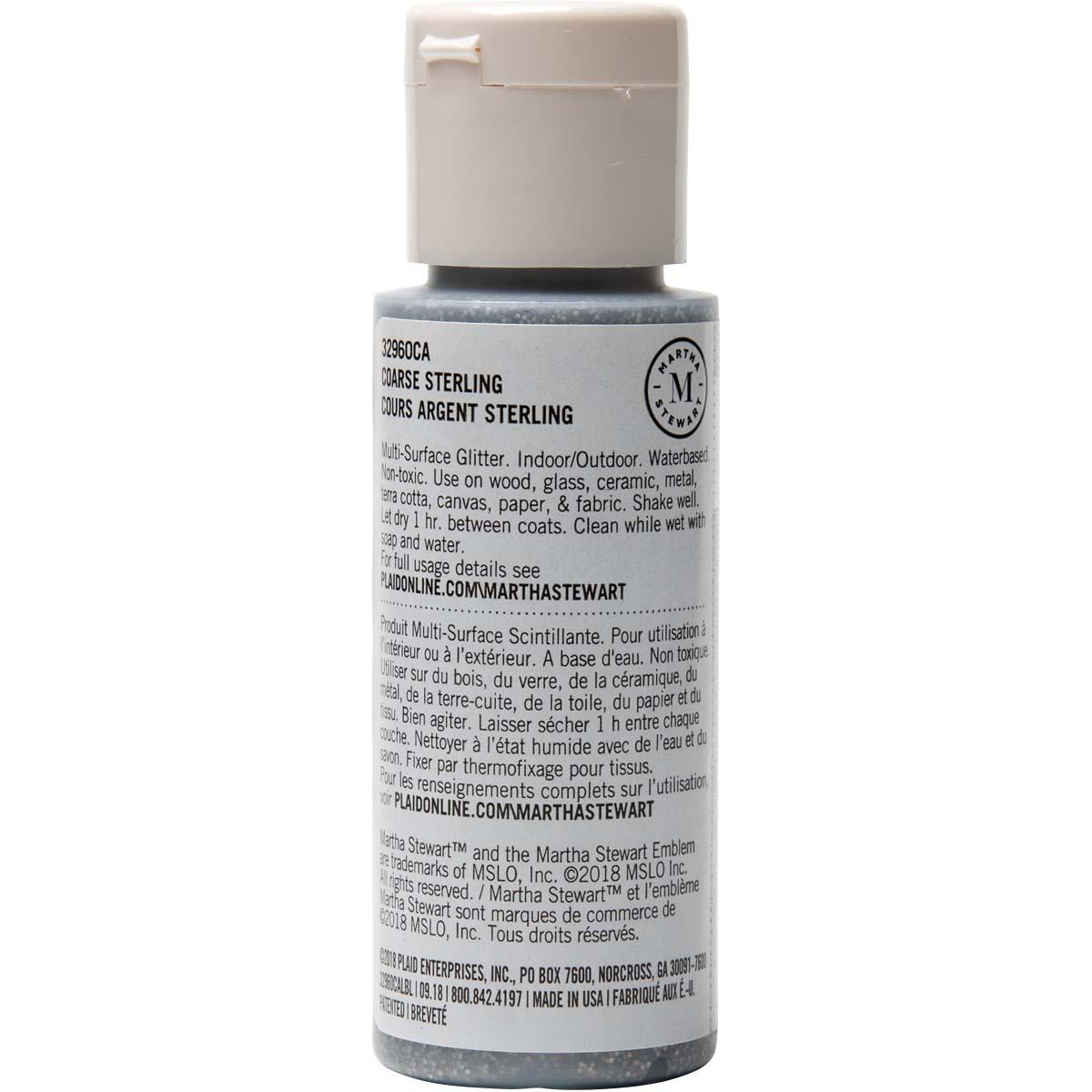 Martha Stewart ® Multi-Surface Coarse Glitter Acrylic Craft Paint - Sterling, 2 oz. - 32960CA