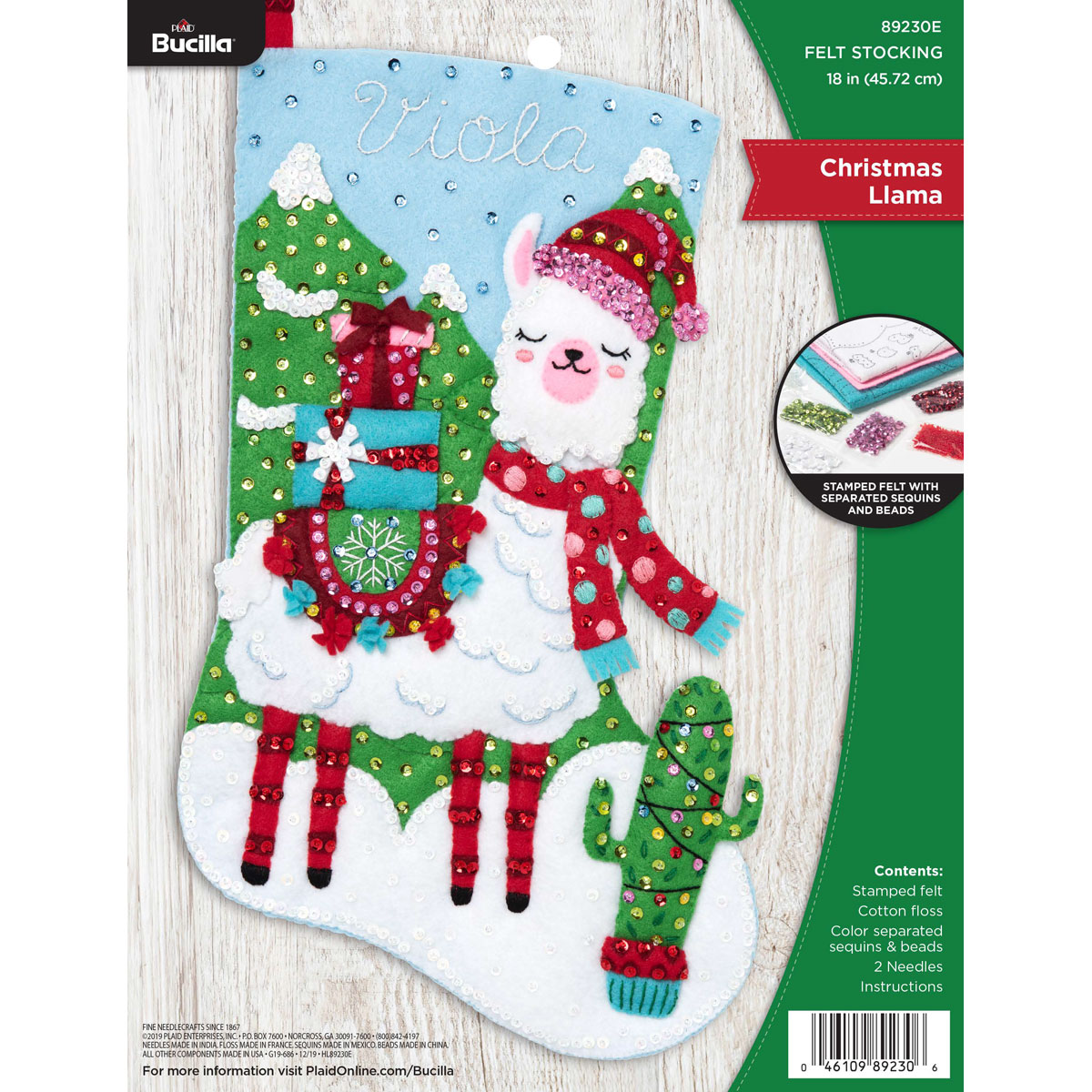 Bucilla ® Seasonal - Felt - Stocking Kits - Christmas Llama - 89230E