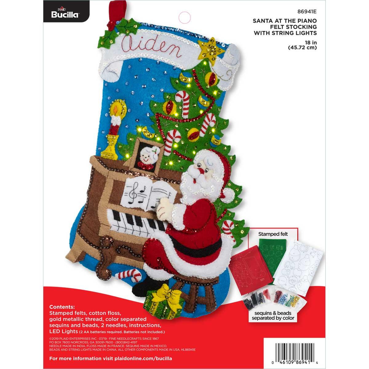 Bucilla Christmas Stocking Kits.Bucilla Seasonal Felt Stocking Kits Santa At The Piano With Lights