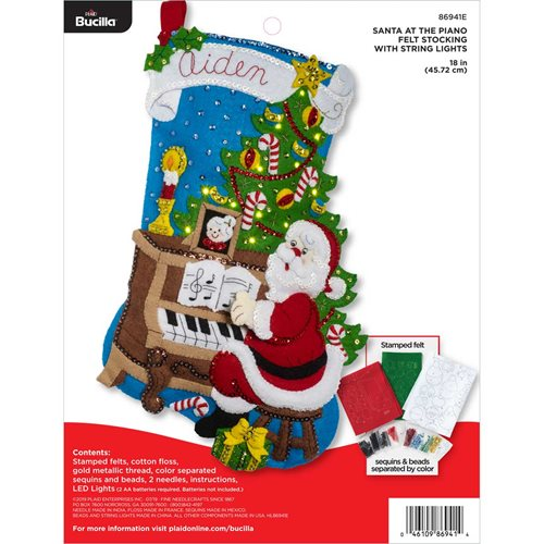 Bucilla ® Seasonal - Felt - Stocking Kits - Santa at the Piano with Lights