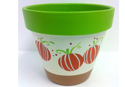 Harvest Pumpkins Clay Pot featuring FolkArt Multi-Surface Paints