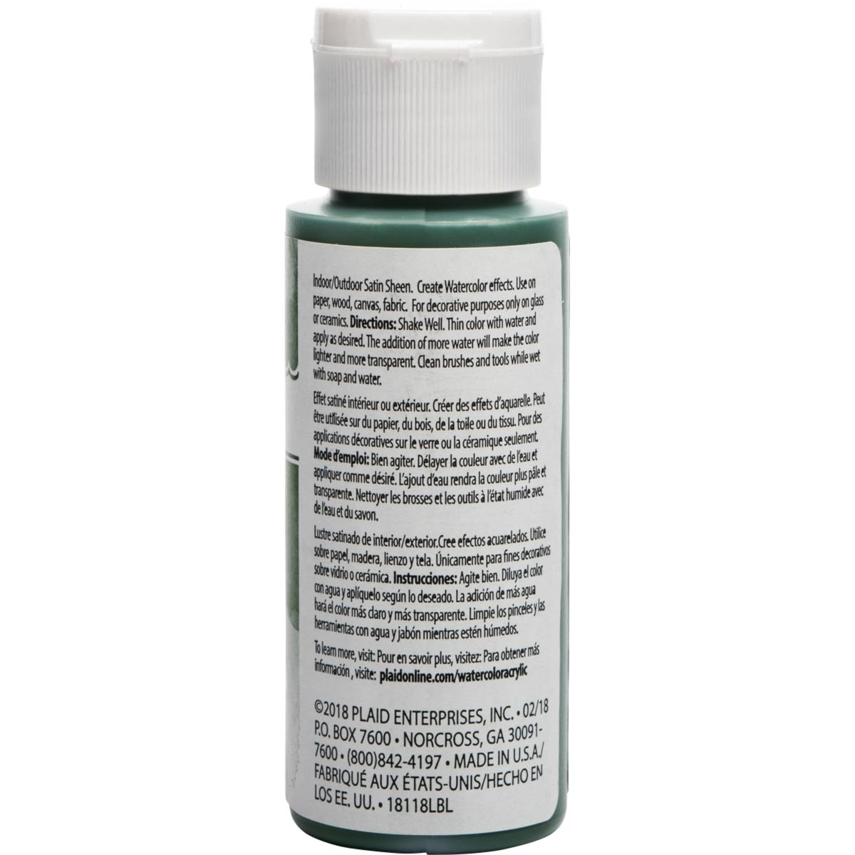 FolkArt ® Watercolor Acrylic Paint™ - Sap Green, 2 oz.