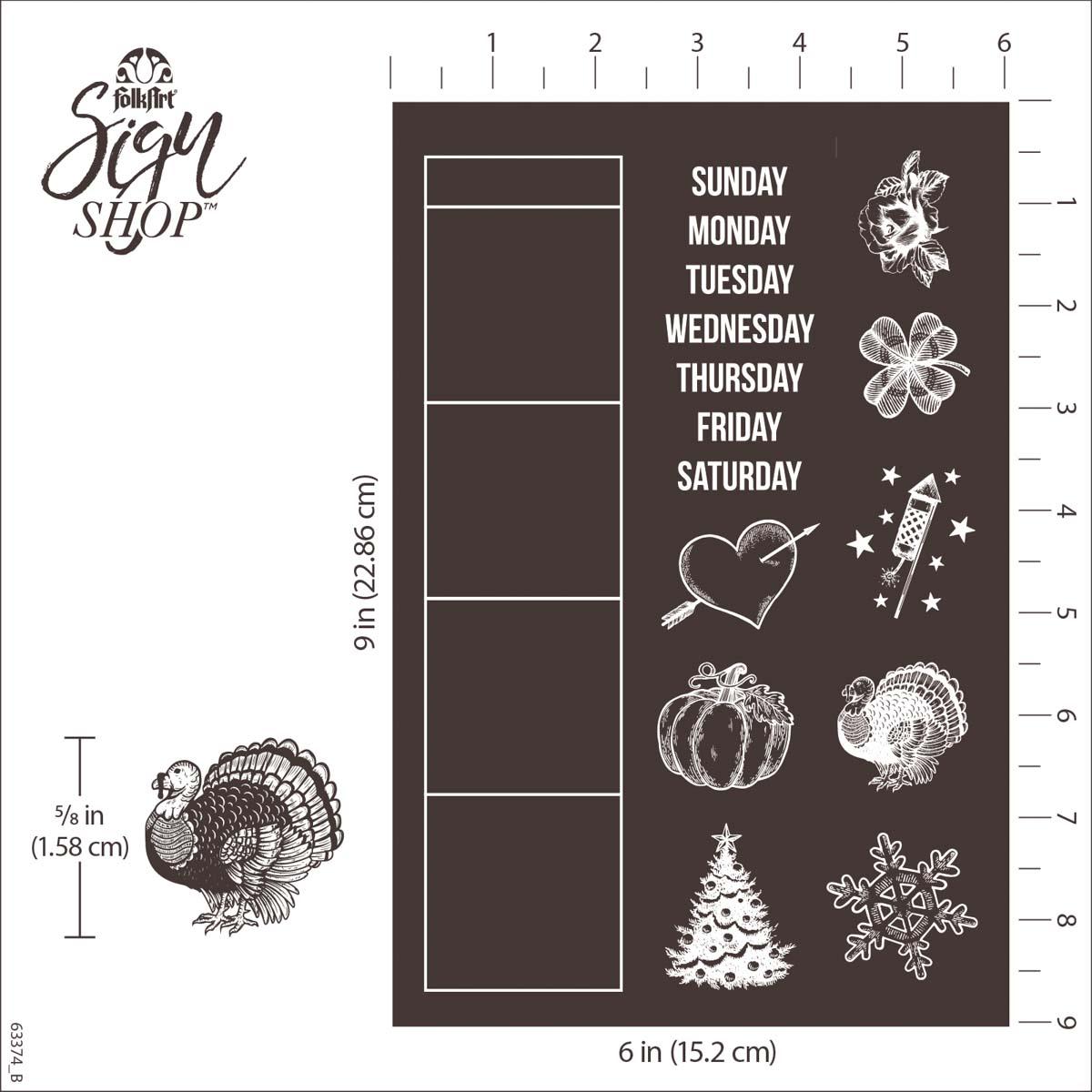 FolkArt ® Sign Shop™ Mesh Stencil - Calendar, 2 pc. - 63374