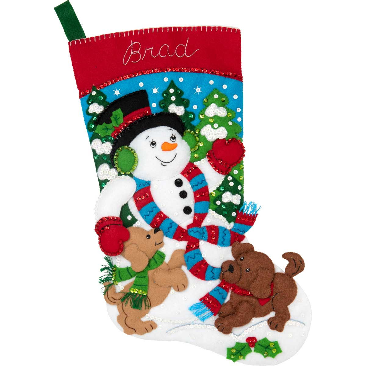 Bucilla ® Seasonal - Felt - Stocking Kits - Snowman and Puppies - 86900E