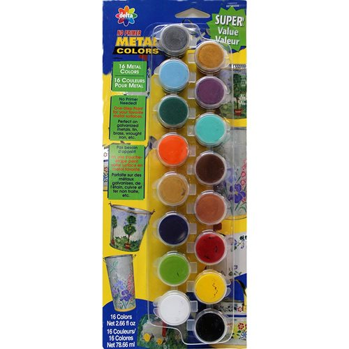 Delta Ceramcoat ® Paint Sets - No Primer Metal, 16 Colors