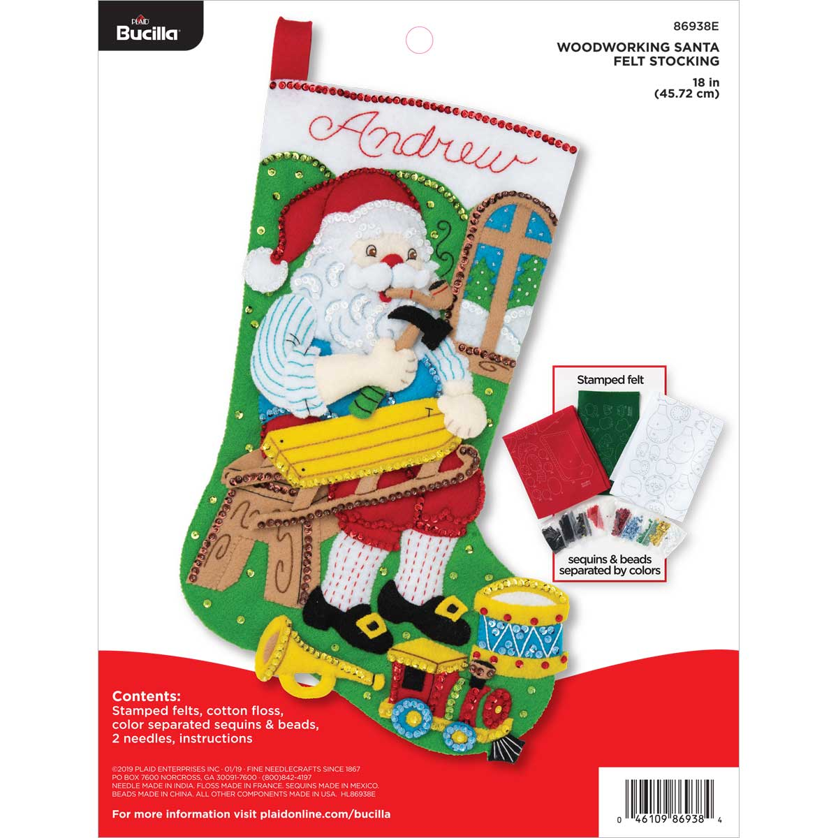 Bucilla ® Seasonal - Felt - Stocking Kits - Woodworking Santa