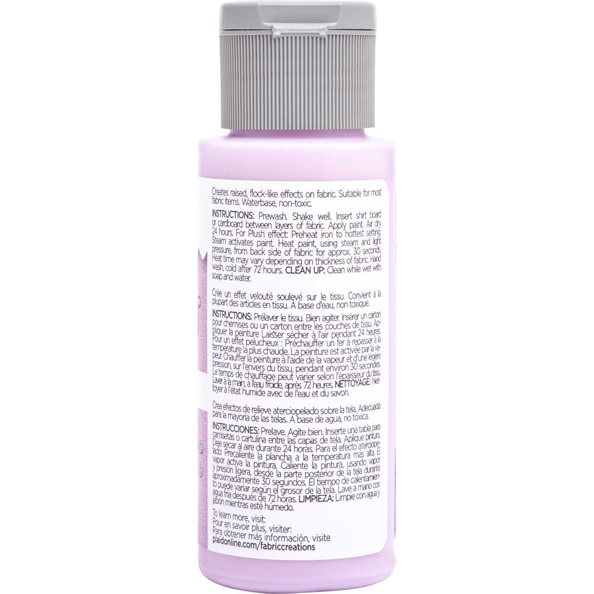 Fabric Creations™ Plush™ 3-D Fabric Paints - Lavender, 2 oz.