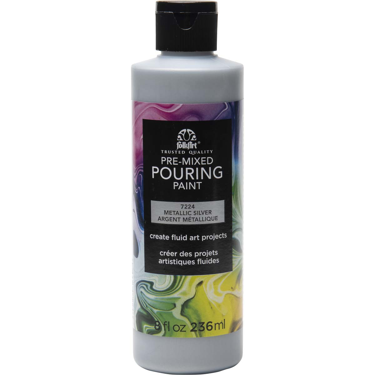 FolkArt ® Pre-mixed Pouring Paint - Metallic Silver, 8 oz. - 7224