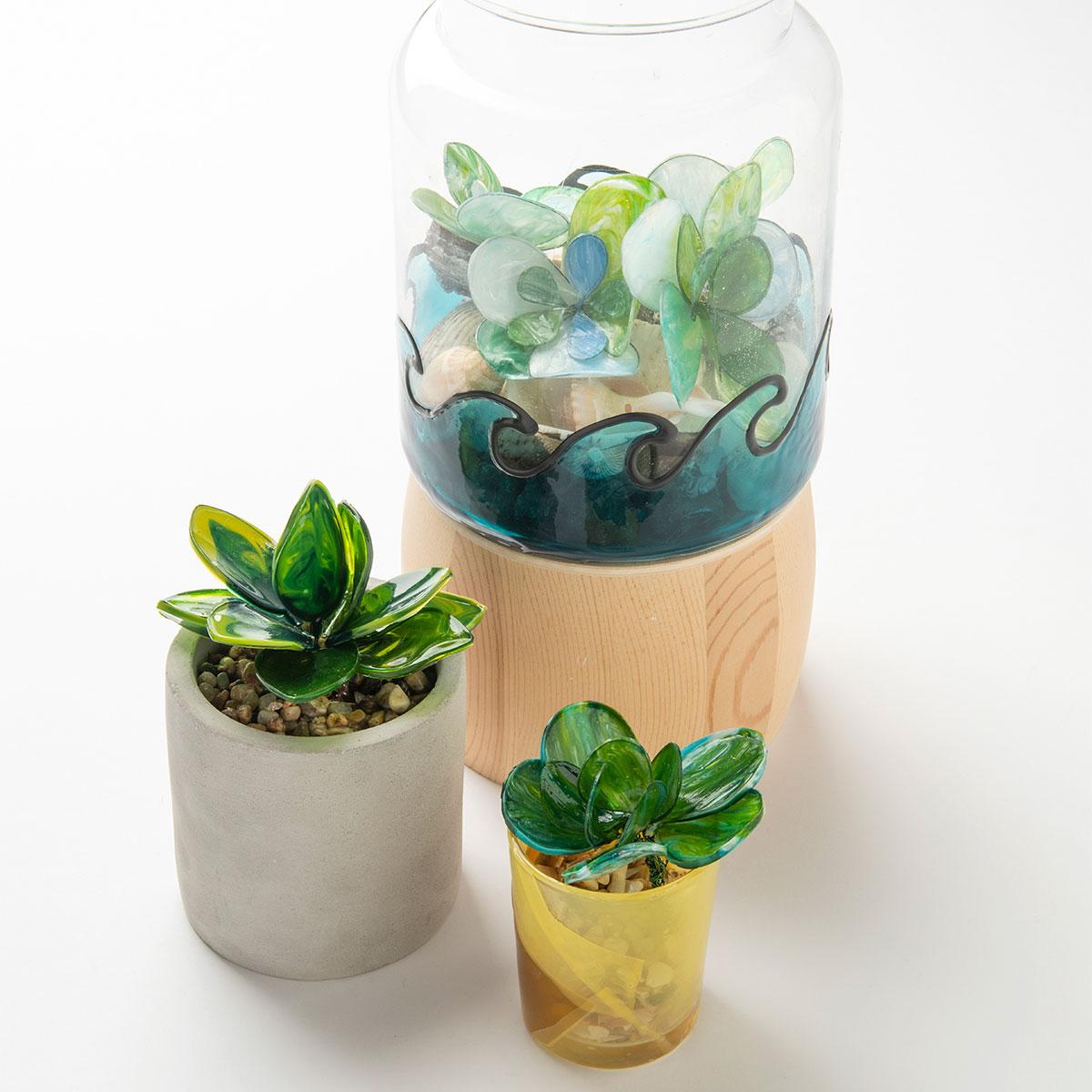 Molded Glass Succulents and votive planter