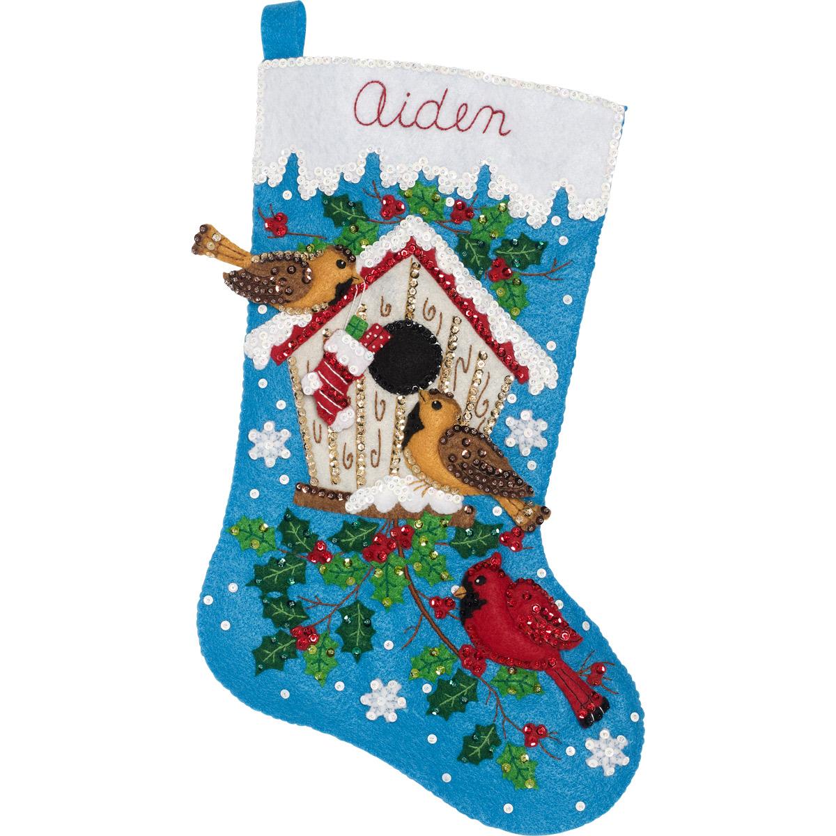 Bucilla ® Seasonal - Felt - Stocking Kits - Christmas Birds - 86944E