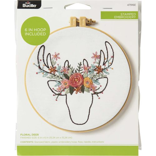Bucilla ® Stamped Embroidery - Floral Deer - 47916E