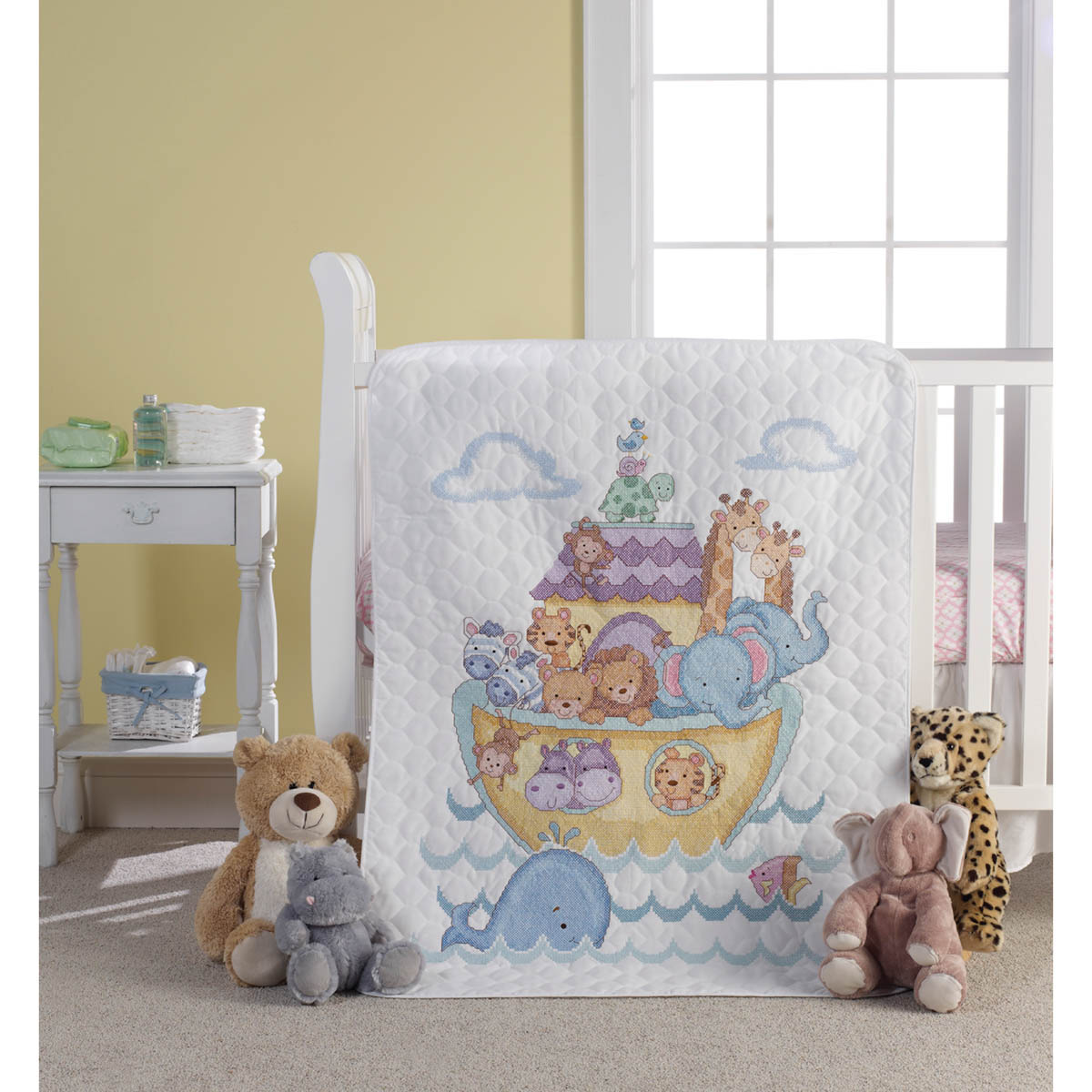 Bucilla ® Baby - Stamped Cross Stitch - Crib Ensembles - Noah's Ark - Crib Cover Kit