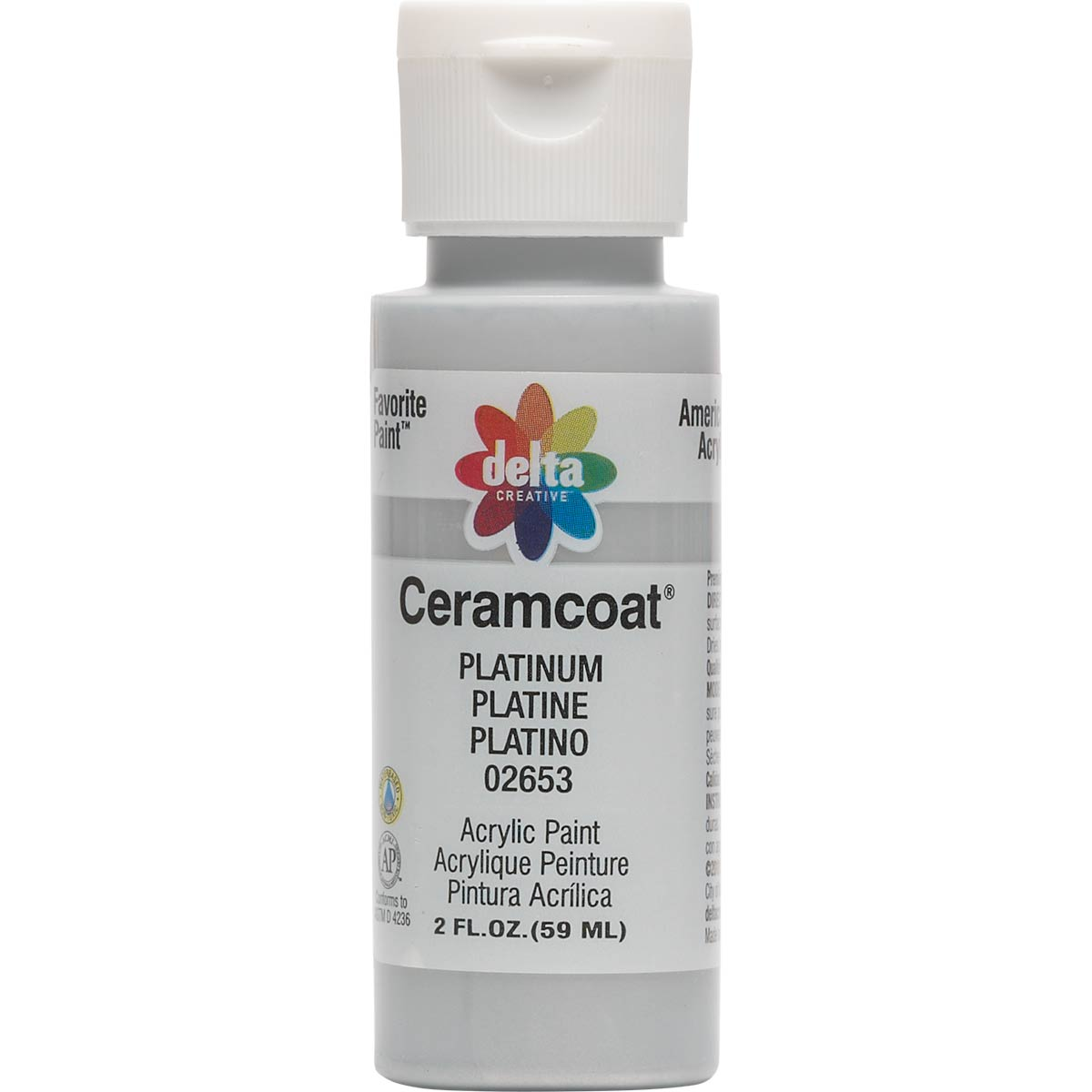 Delta Ceramcoat ® Acrylic Paint - Metallic Platinum, 2 oz. - 026530202W