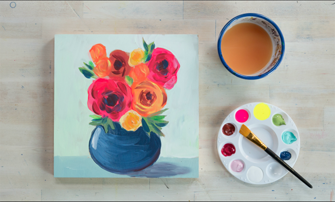 "Paint Along Party: Learn To Paint ""Modern Florals"" with Creativebug's Courtney Cerruti"