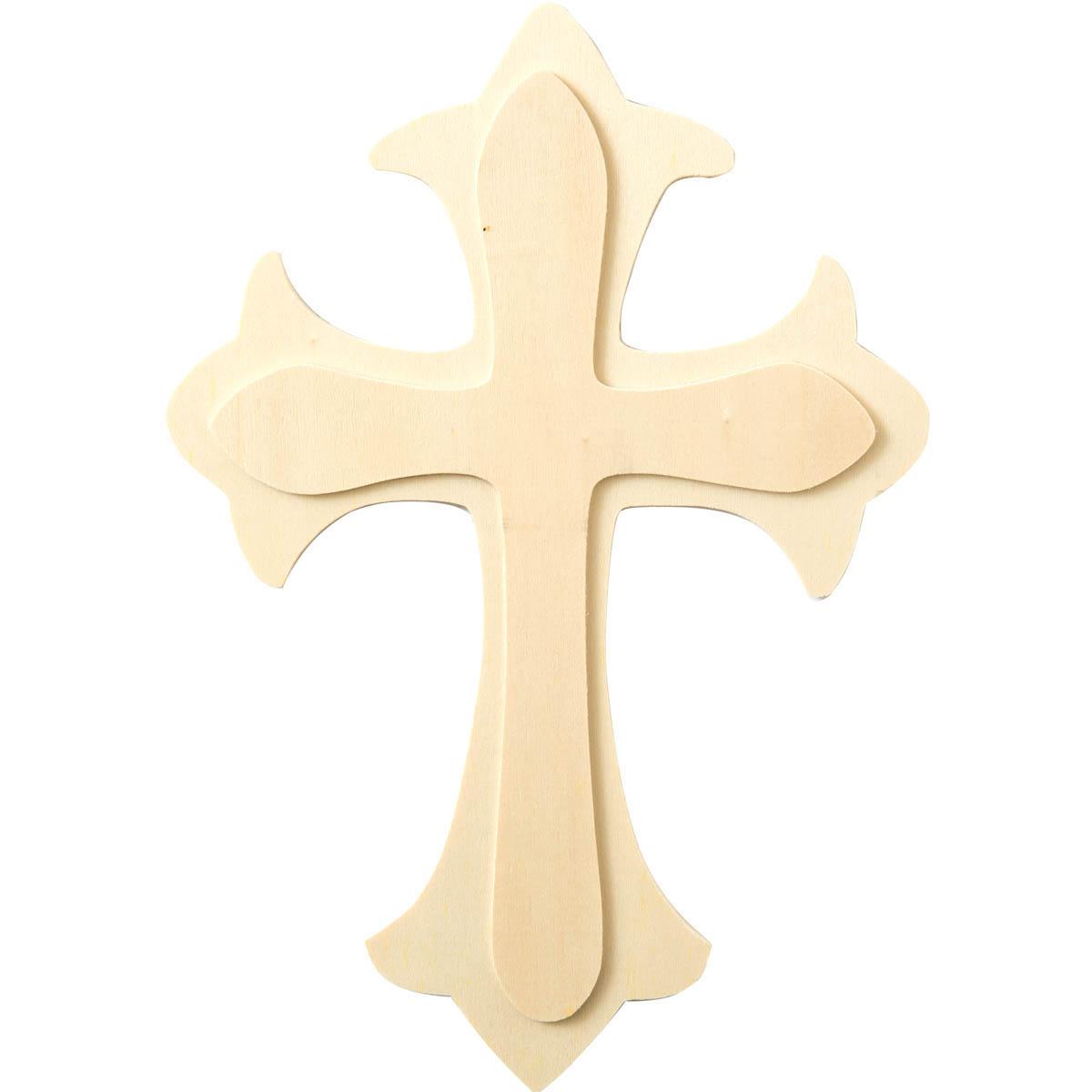 Plaid ® Wood Surfaces - Shape - Large Fleur De Lis Cross