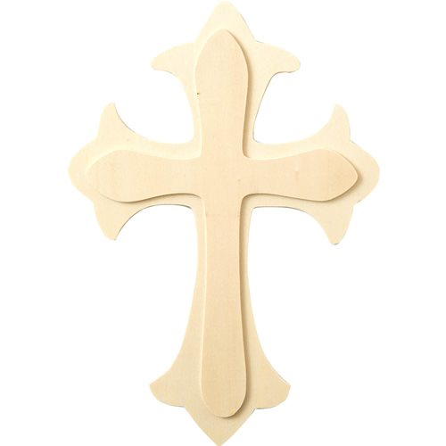 Plaid ® Wood Surfaces - Shape - Large Fleur De Lis Cross