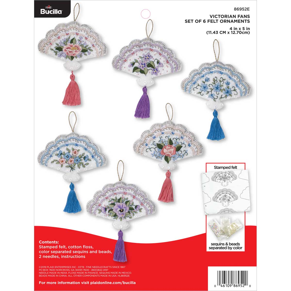Bucilla ® Seasonal - Felt - Ornament Kits - Victorian Fans - 86952E