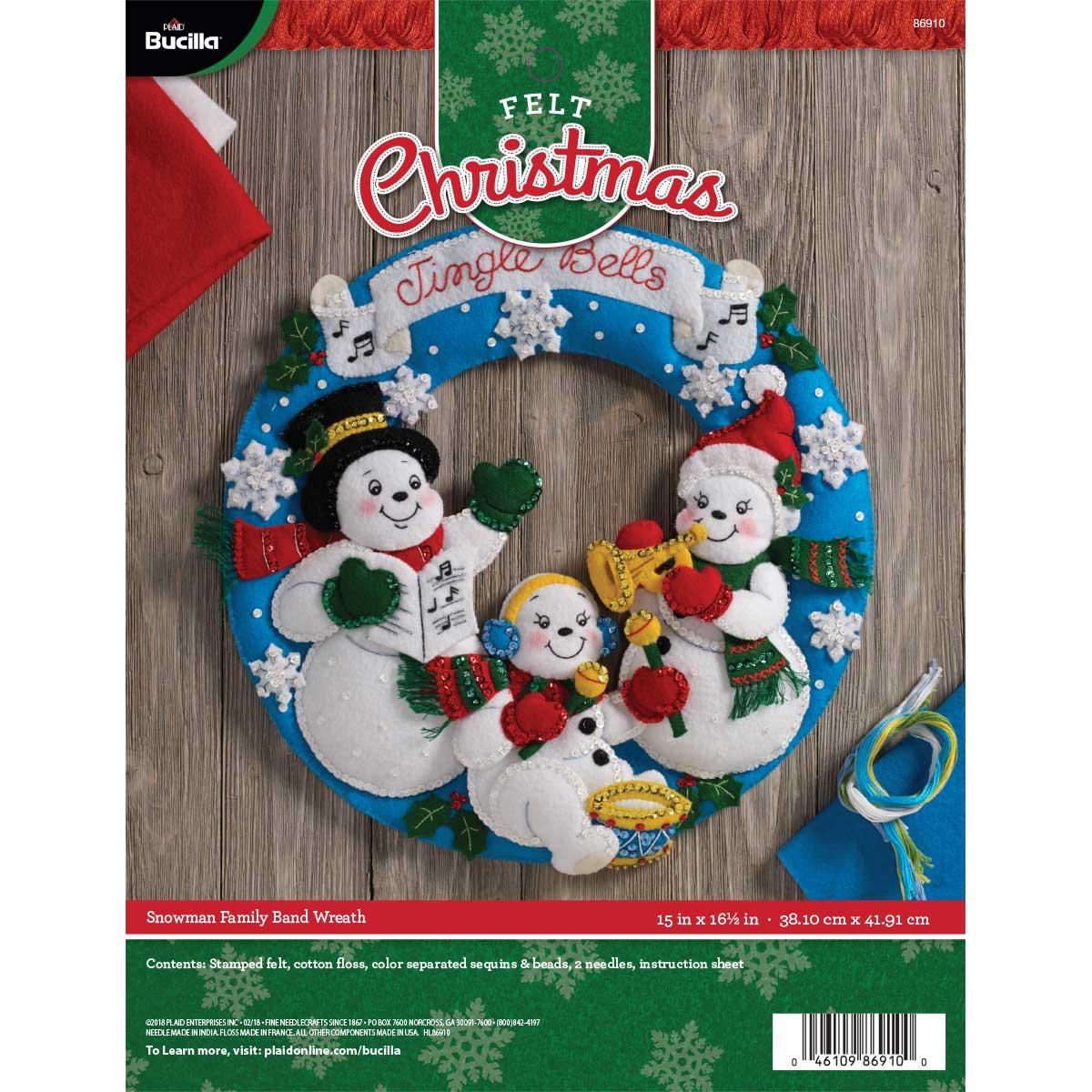 Bucilla ® Seasonal - Felt - Home Decor - Snowman Family Band Wall Hanging - 86910