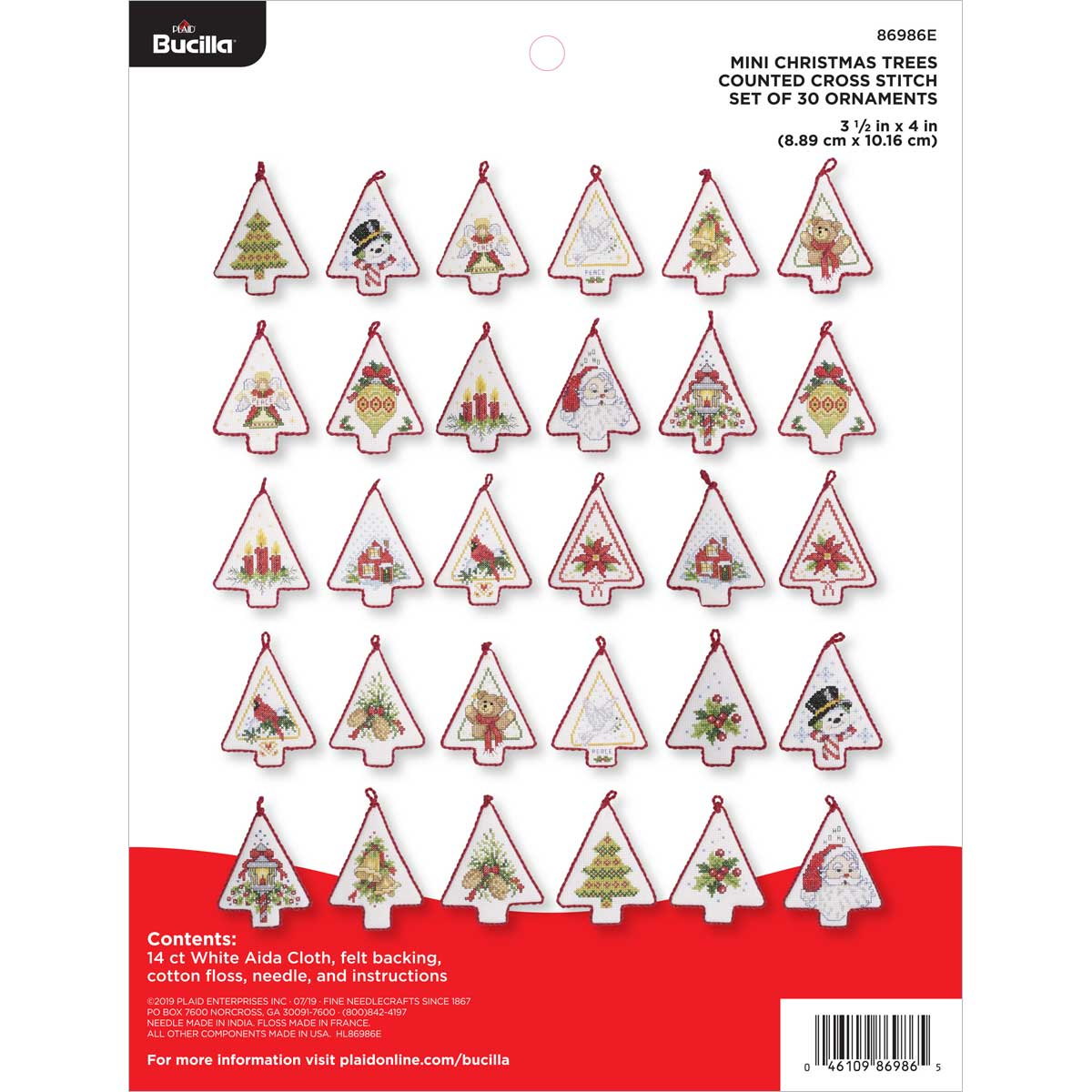 Bucilla ® Seasonal - Counted Cross Stitch - Ornament Kits - Mini Christmas Trees - 86986E